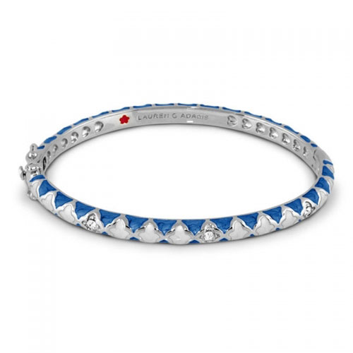 Lauren G Adams Silver and Blue Enamel Cross Fiesta Bangle
