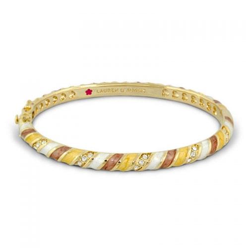 Lauren G Adams Gold and Butternut Stripe Design Bangle