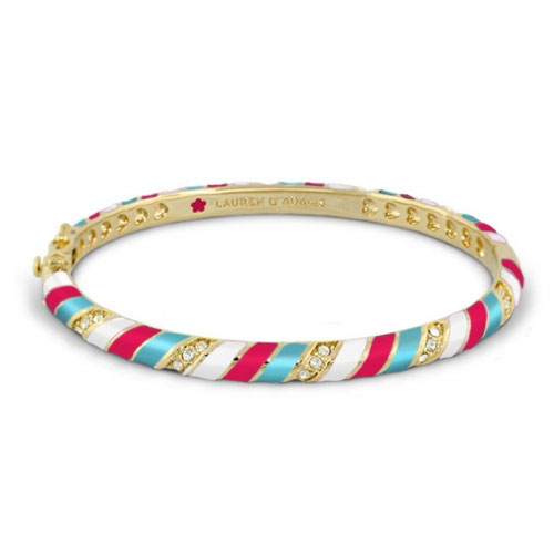 Lauren G Adams Gold and Hot Red Stripe Design Bangle