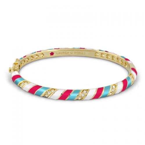 Lauren G Adams Lauren G Adams Gold and Hot Red Stripe Design Bangle