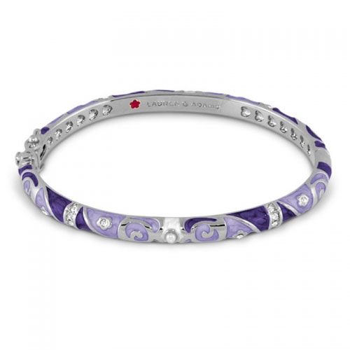Lauren G Adams Silver and Lavender Fiesta Pattern Bangle