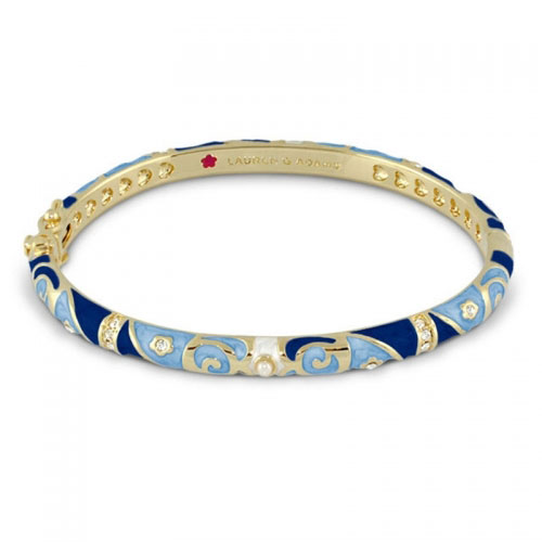 Lauren G Adams Gold and Blue Fiesta Pattern Bangle