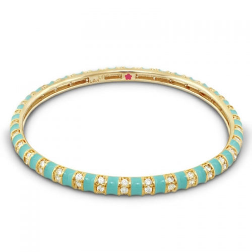 Lauren G Adams Turquoise and Gold Stripe Tease Stackable Bangle