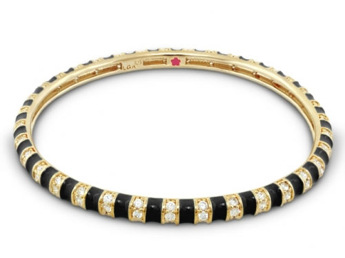 Lauren G Adams Black and Gold Stripe Tease Stackable Bangle