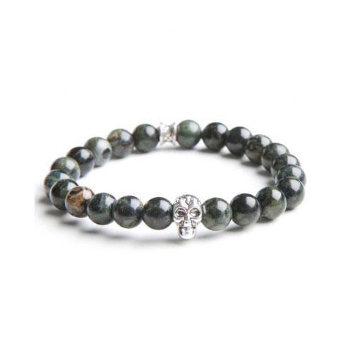 Gemini Small Green Skull Bracelet