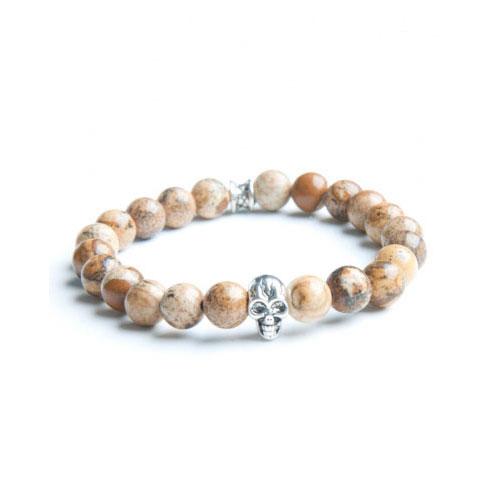 Gemini Small Beige Skull Bracelet