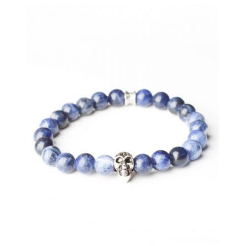 Gemini Small Blue Skull Bracelet