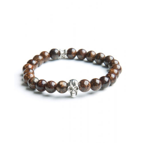 Gemini Medium Brown Skull Bracelet