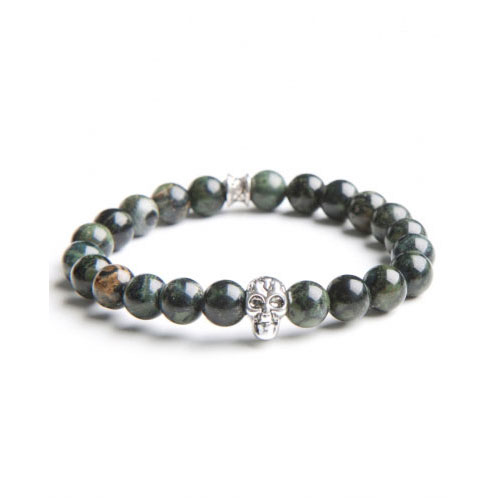 Gemini Medium Green Skull Bracelet