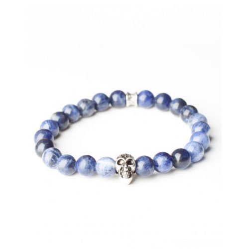 Gemini Medium Blue Skull Bracelet
