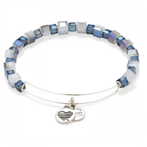 Alex and Ani Bluebell Gleaming Moment Beaded Silver Bangle A14EB76RS