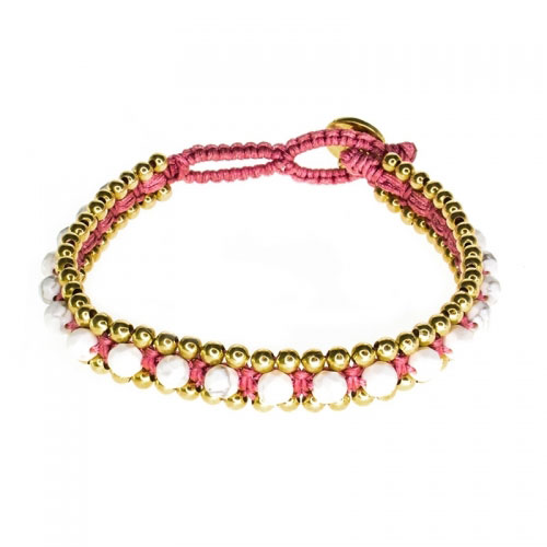 Barong Barong White and Pink Happy Dragon Bracelet