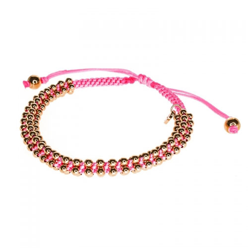 Barong Barong Neon Pink and Rose Gold Lucky Silk Bracelet