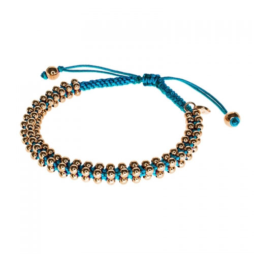 Barong Barong Sky Blue and Rose Gold Lucky Silk Bracelet