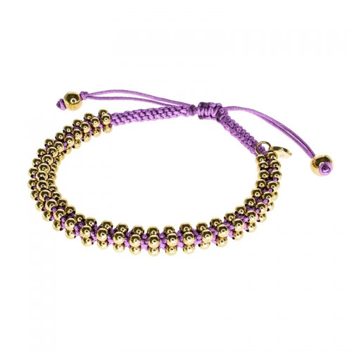 Barong Barong Lilac and Yellow Gold Lucky Silk Bracelet