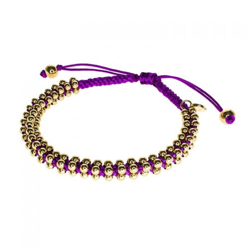 Barong Barong Purple and Yellow Gold Lucky Silk Bracelet
