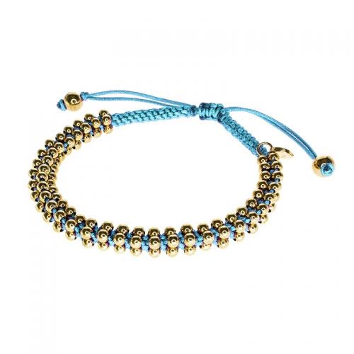 Barong Barong Sky Blue and Yellow Gold Lucky Silk Bracelet