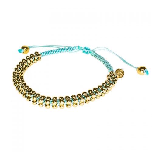 Barong Barong Light Blue and Yellow Gold Lucky Silk Bracelet
