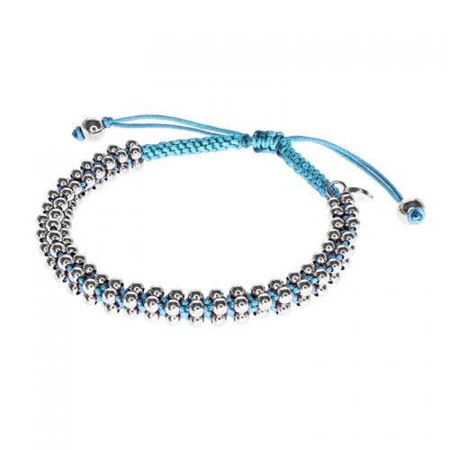 Barong Barong Blue and Silver Lucky Silk Bracelet