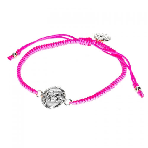Barong Barong Neon Pink and Silver One Luck Heart Bracelet