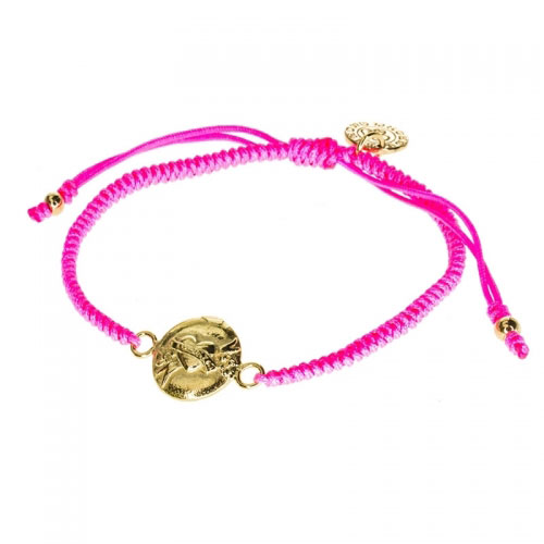 Barong Barong Neon Pink and Gold One Luck Heart Bracelet