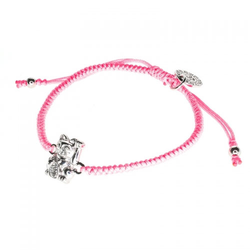 Barong Barong Pink and Silver One Luck Cat Bracelet