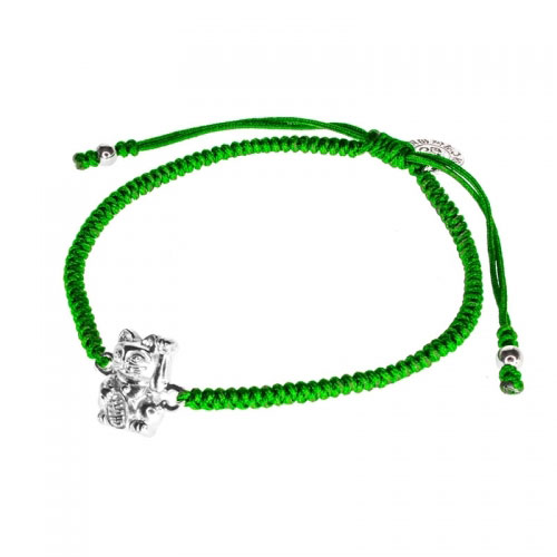 Barong Barong Green and Silver One Luck Cat Bracelet