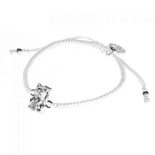 Barong Barong White and Silver One Luck Cat Bracelet