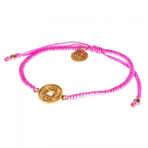 Barong Barong Pink and Rose Gold One Luck Chinese Coin Bracelet
