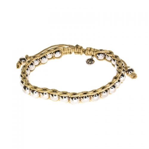 Barong Barong Beige and Silver Lucky Time Bracelet