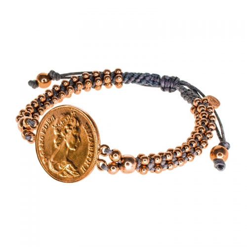 Barong Barong Grey and Rose Gold Big Coin Bracelet