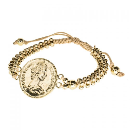 Barong Barong Beige and Gold Big Coin Bracelet