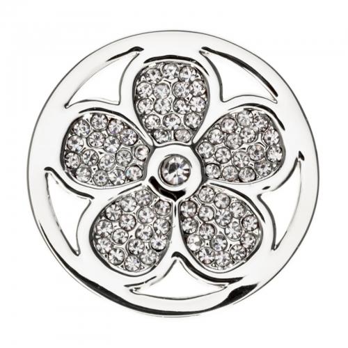 Timebeads Silver Sparkling Daisy Medium Coin