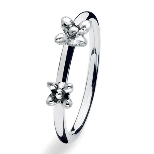 Spinning Jewelry Twin Flowers Stackable Ring 16000