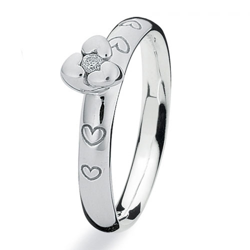 Spinning Jewelry Twisted Hearts Diamond Stackable Ring 201009