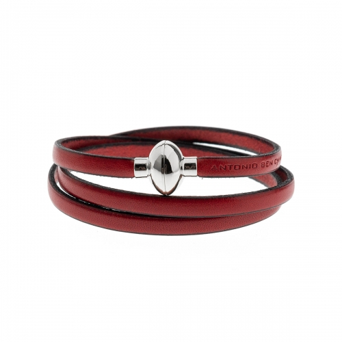 Antonio Ben Chimol Red Italian Leather Bracelet with Silver Clasp 02_RJ_Silver
