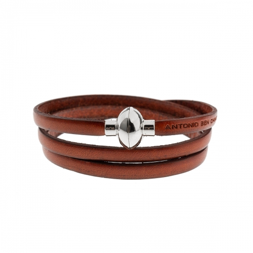 Antonio Ben Chimol Burnt Orange Italian Leather Bracelet with Silver Clasp 03_VO_Silver