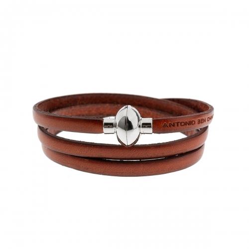 Antonio Ben Chimol Burnt Orange Italian Leather Bracelet with Silver