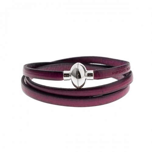 Antonio Ben Chimol Purple Italian Leather Bracelet with Silver Clasp 04_FX_Silver