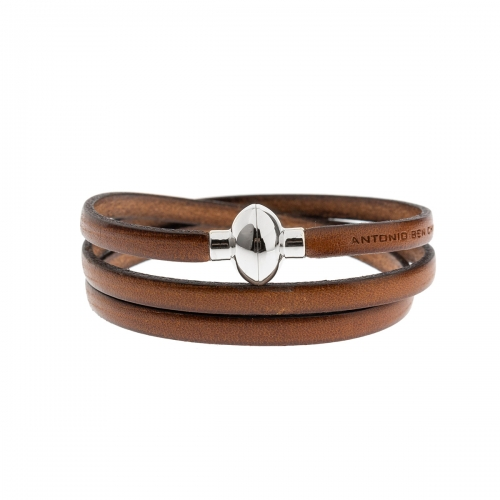 Antonio Ben Chimol Brown Italian Leather Bracelet with Silver Clasp 05_MD_Silver