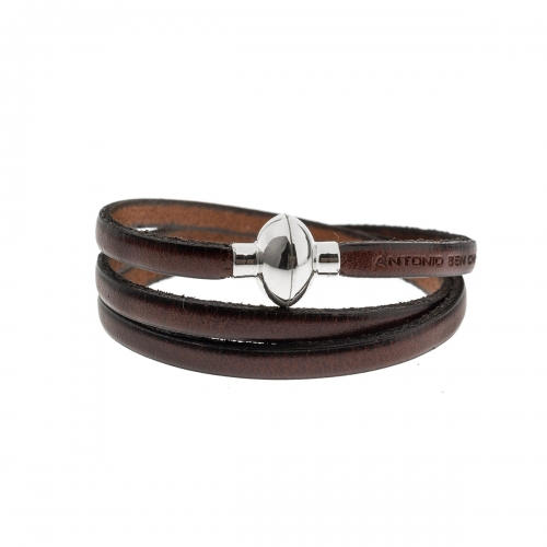 Antonio Ben Chimol Chocolate Brown Italian Leather Bracelet with Silver Clasp 06_MR_Silver