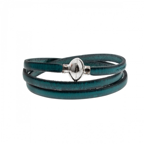 Antonio Ben Chimol Dark Aqua Italian Leather Bracelet with Silver Clasp 07_NJ_Silver