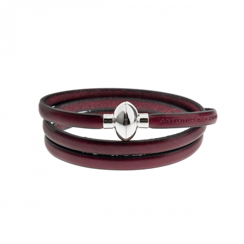 Antonio Ben Chimol Burned Purple Leather Bracelet With Silver Clasp