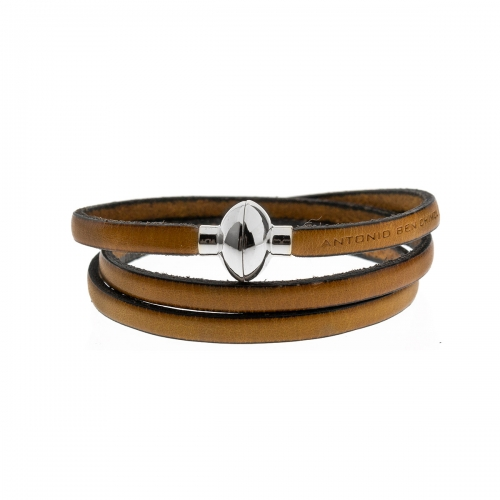 Antonio Ben Chimol Mustard Italian Leather Bracelet with Silver Clasp 09_AM_Silver