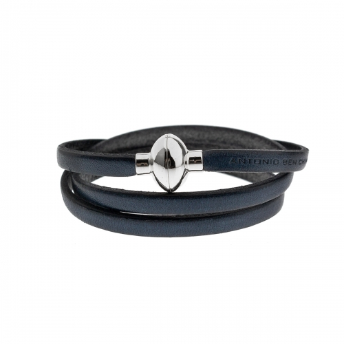 Antonio Ben Chimol Navy Blue Italian Leather Bracelet with Silver Clasp 11_AO_Silver