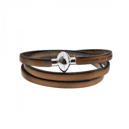 Antonio Ben Chimol Tan Italian Leather Bracelet with Silver Clasp 12_BG_Silver