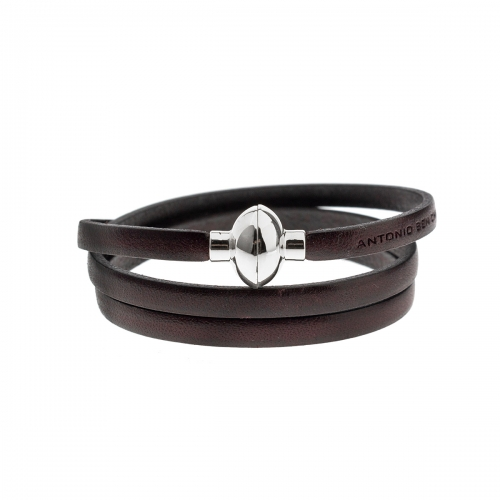 Antonio Ben Chimol Dark Brown Italian Leather Bracelet with Silver Clasp 13_MT_Silver