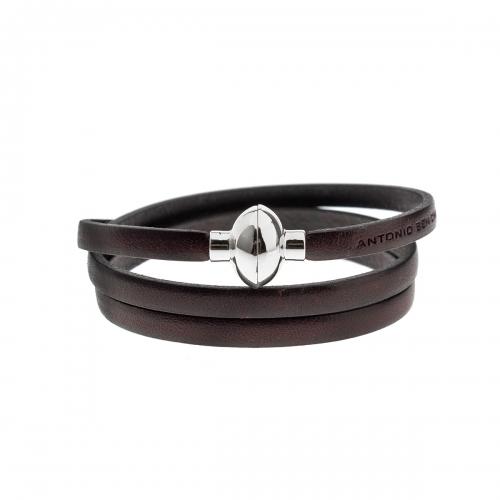 Antonio Ben Chimol Dark Brown Italian Leather Bracelet with Silver Clasp 13_MT_Silver