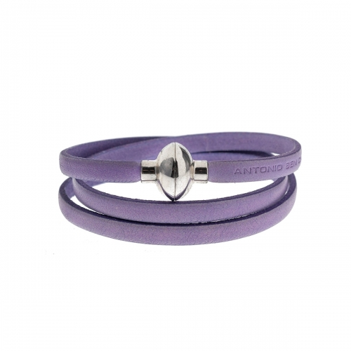 Antonio Ben Chimol Lilac Italian Leather Bracelet with Silver Clasp 17_LI_Silver