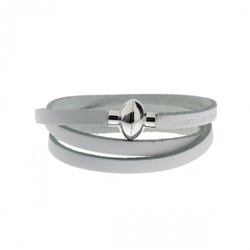 Antonio Ben Chimol White Italian Leather Bracelet with Silver Clasp 18_WH_Silver